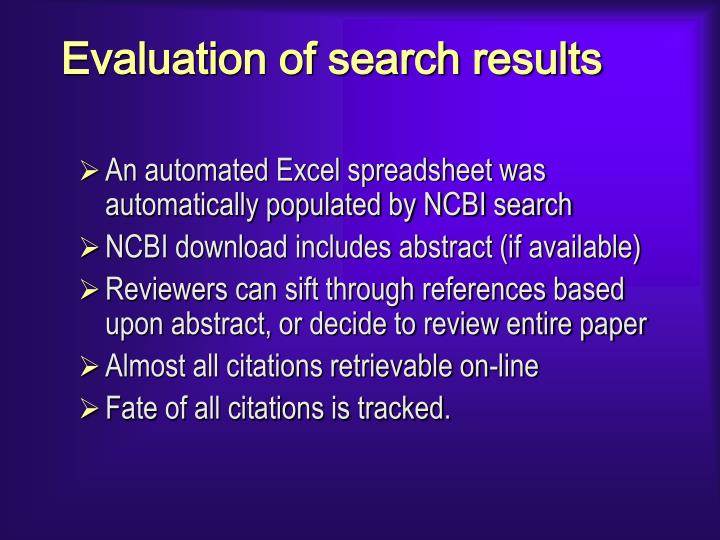 Evaluation of search results