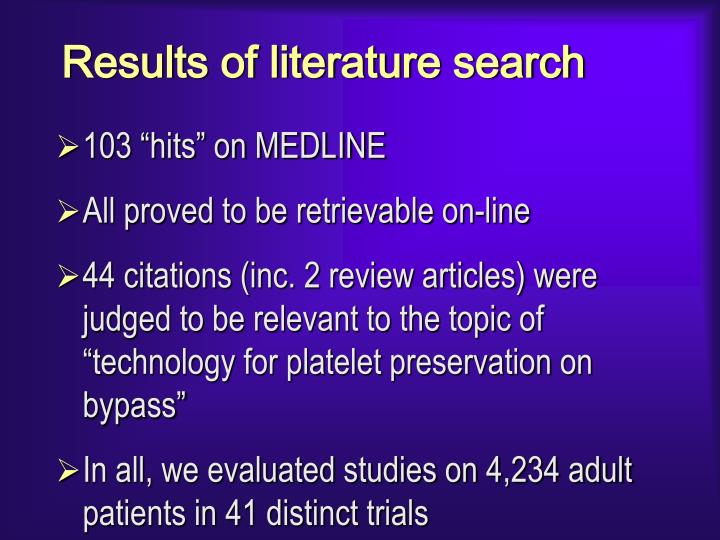 Results of literature search