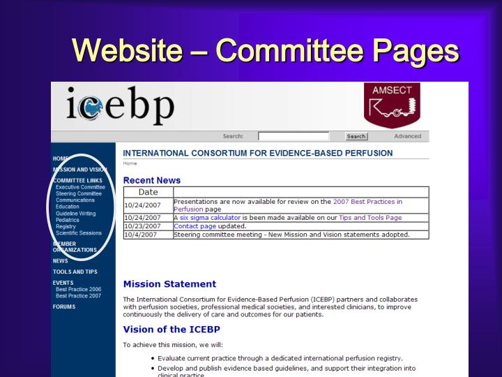 Website – Committee Pages