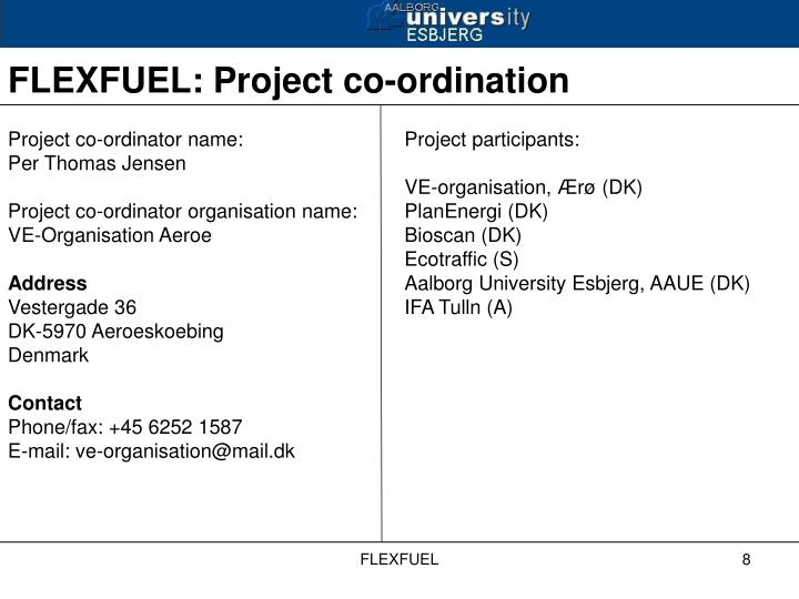 Project co-ordinator name: