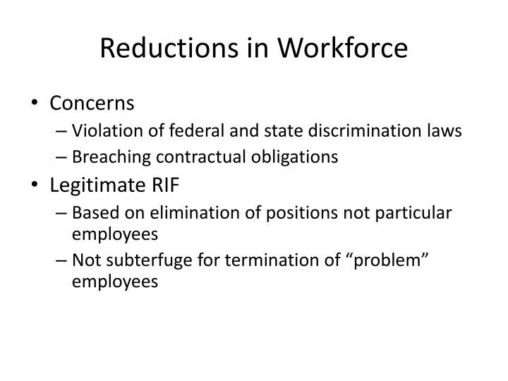 Reductions in Workforce