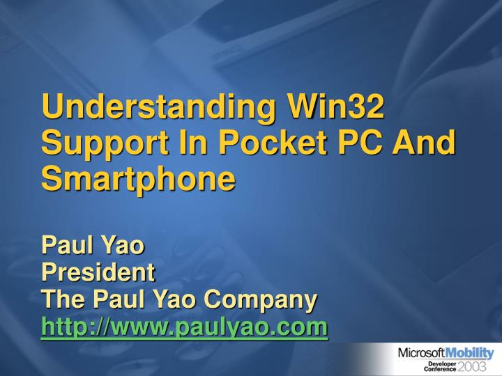 Understanding win32 support in pocket pc and smartphone
