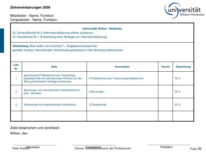Zielvereinbarungen 2006