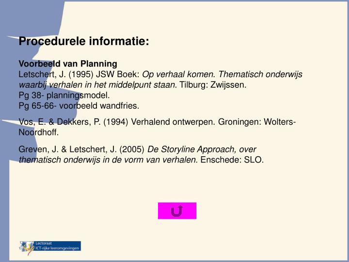 Procedurele informatie: