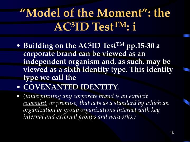 """Model of the Moment"": the AC"