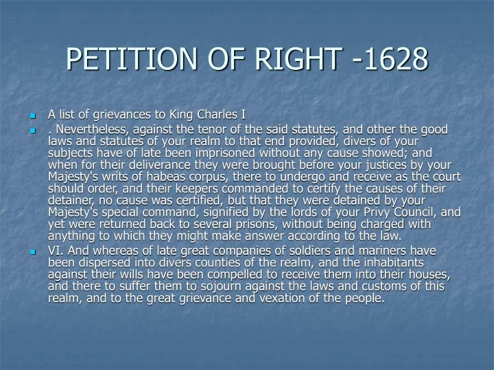 PETITION OF RIGHT -1628