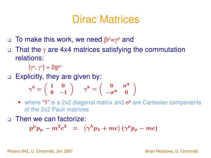 Dirac Matrices