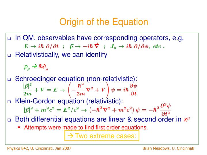Origin of the equation