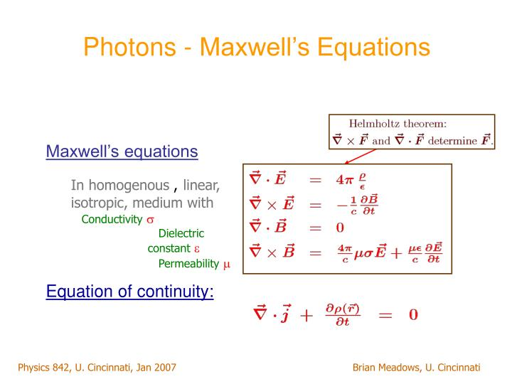 Photons - Maxwell's Equations