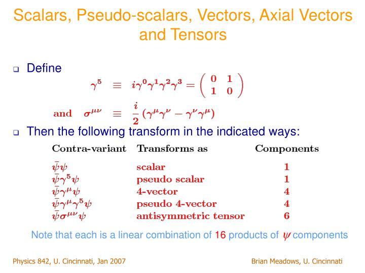 Scalars, Pseudo-scalars, Vectors, Axial Vectors and Tensors
