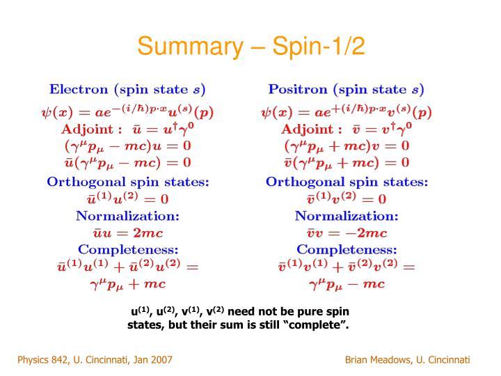 Summary – Spin-1/2