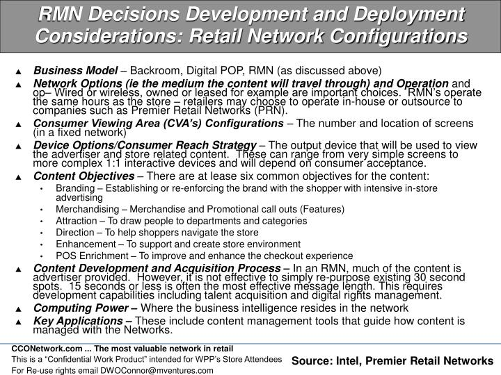 RMN Decisions Development and Deployment Considerations: Retail Network Configurations