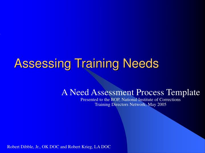 assessing training needs n.