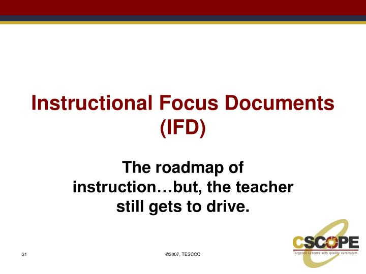Instructional Focus Documents (IFD)
