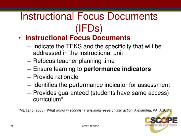Instructional Focus Documents (IFDs)