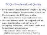 boq benchmarks of quality