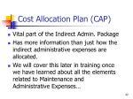 cost allocation plan cap