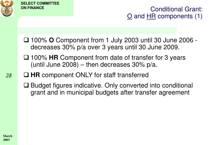 Conditional Grant: