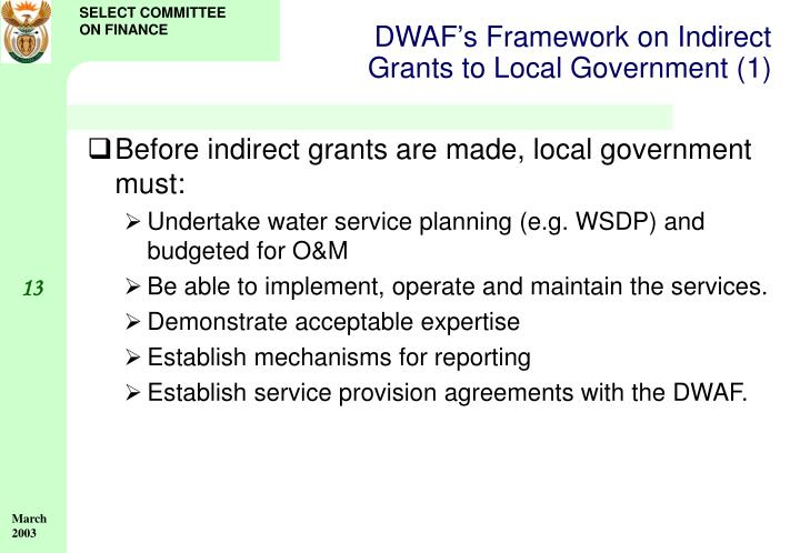 DWAF's Framework on Indirect Grants to Local Government (1)