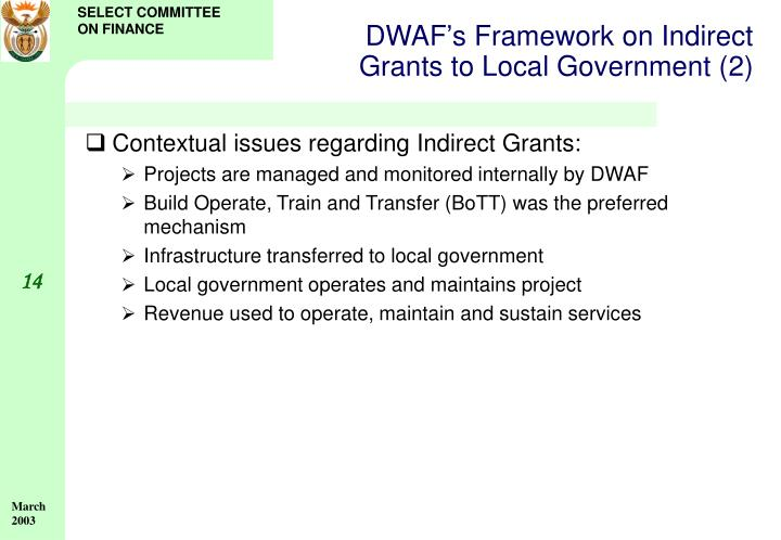 DWAF's Framework on Indirect Grants to Local Government (2)