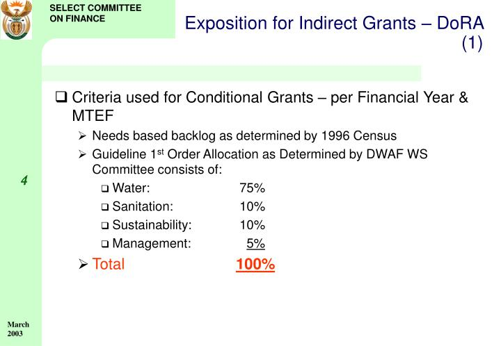 Exposition for Indirect Grants – DoRA (1)