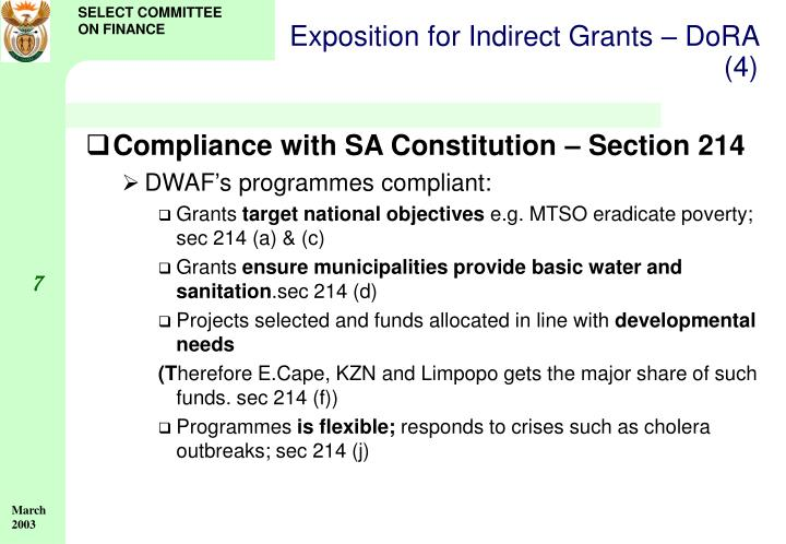 Exposition for Indirect Grants – DoRA (4)
