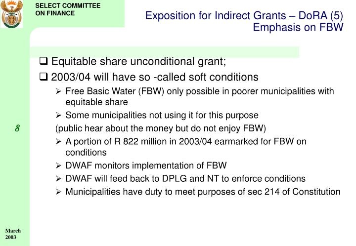 Exposition for Indirect Grants – DoRA (5)