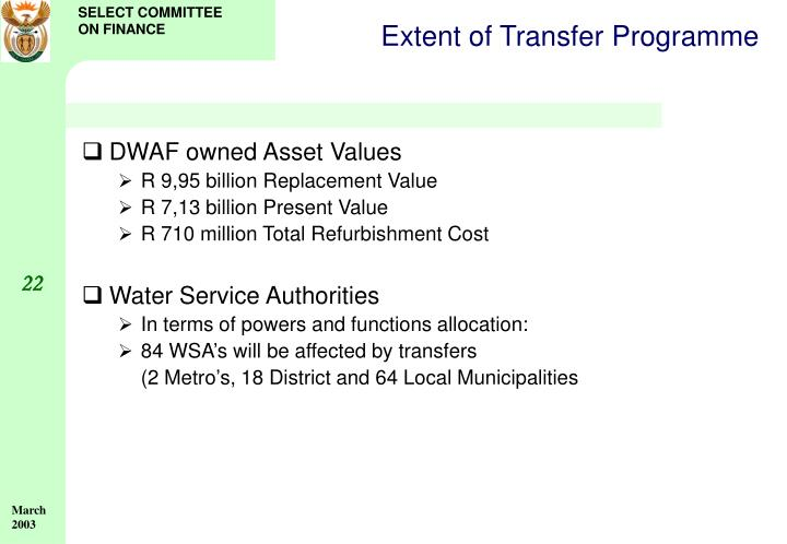 Extent of Transfer Programme