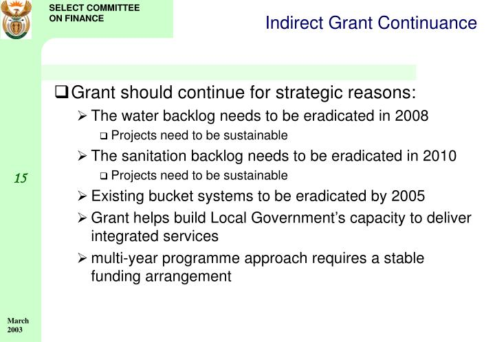 Indirect Grant Continuance