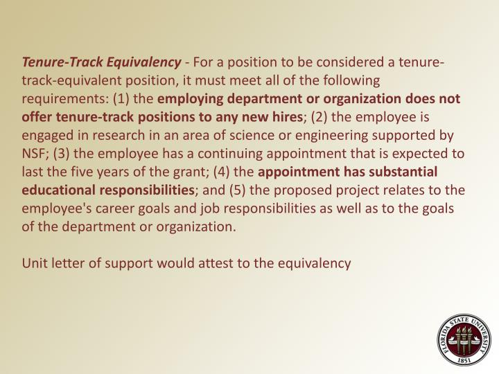 Tenure-Track Equivalency