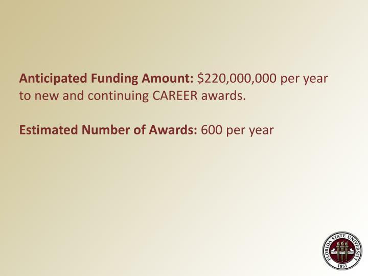 Anticipated Funding Amount: