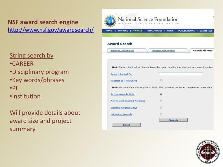 NSF award search engine