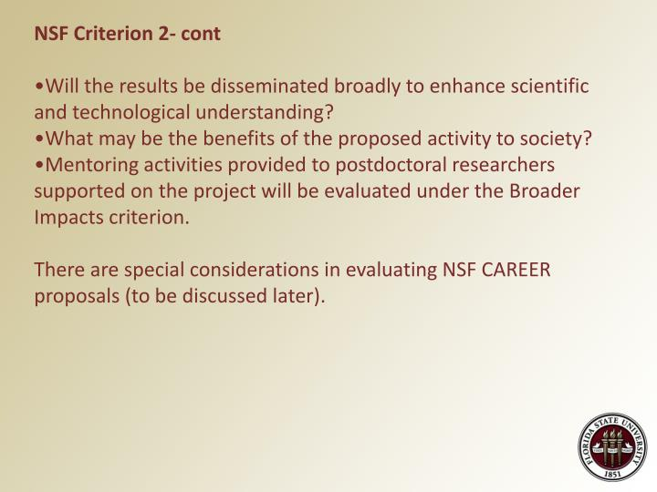 NSF Criterion 2- cont