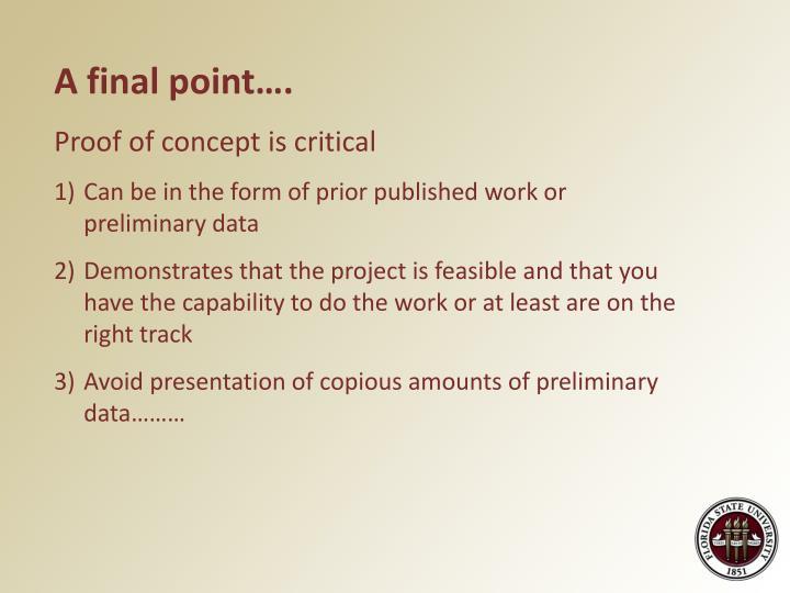 A final point….