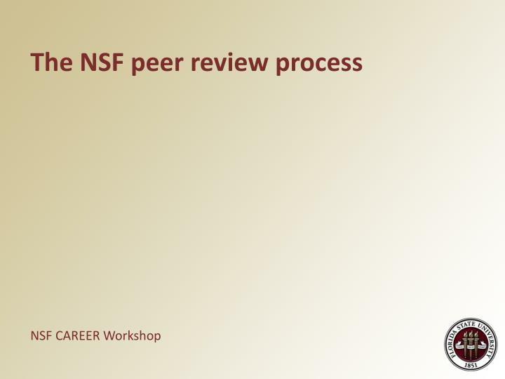 The NSF peer review process