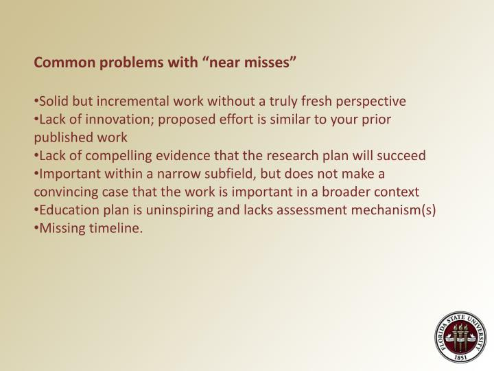 """Common problems with """"near misses"""""""