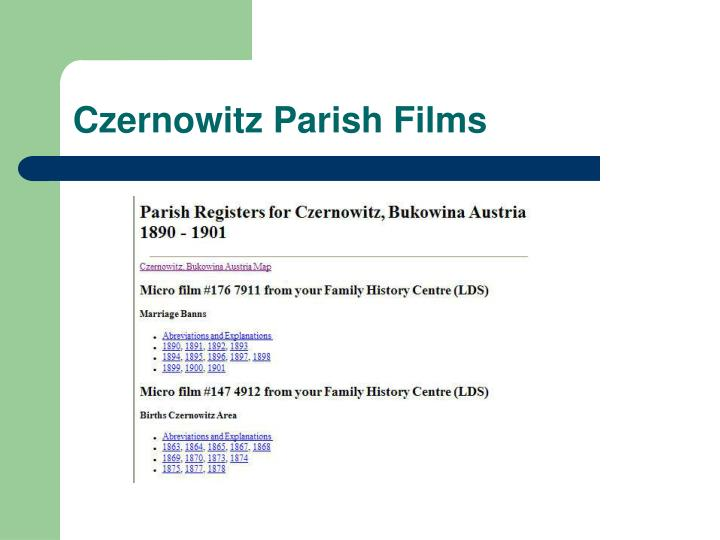 Czernowitz Parish Films
