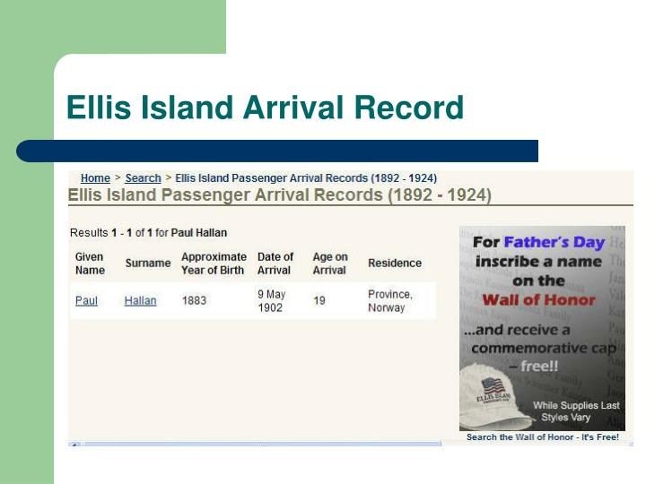 Ellis Island Arrival Record