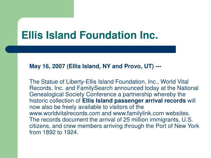 Ellis Island Foundation Inc.