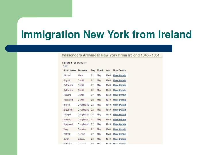 Immigration New York from Ireland