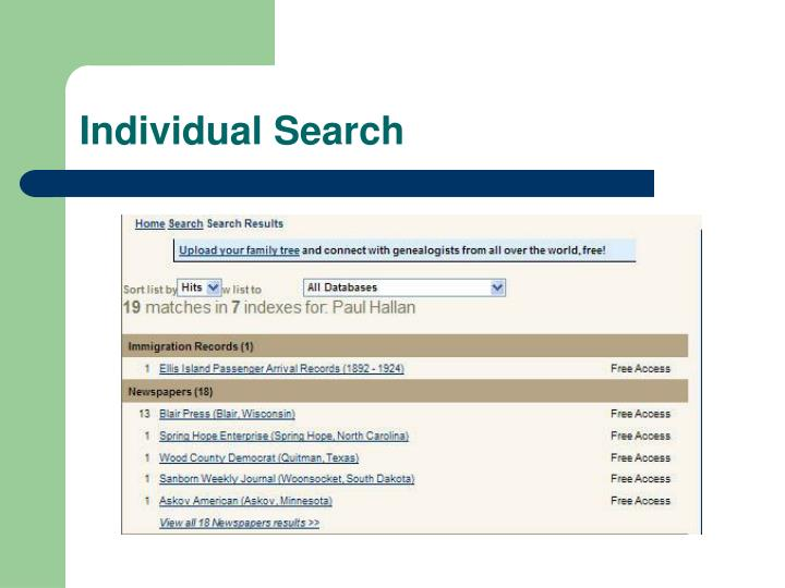 Individual Search