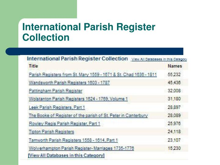 International Parish Register Collection