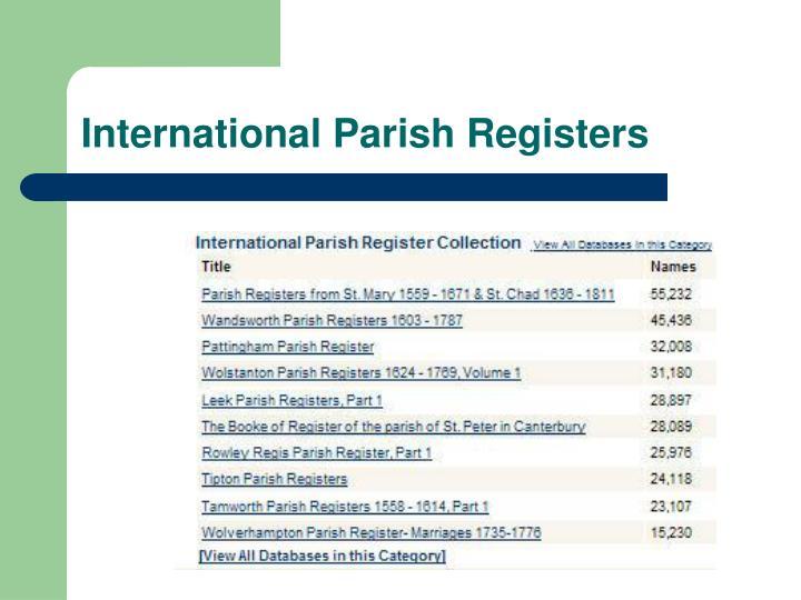 International Parish Registers