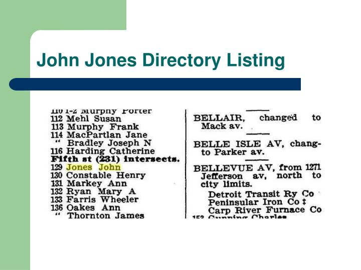 John Jones Directory Listing