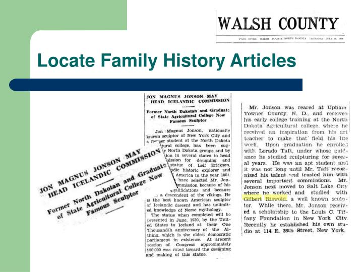 Locate Family History Articles