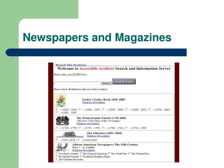 Newspapers and Magazines