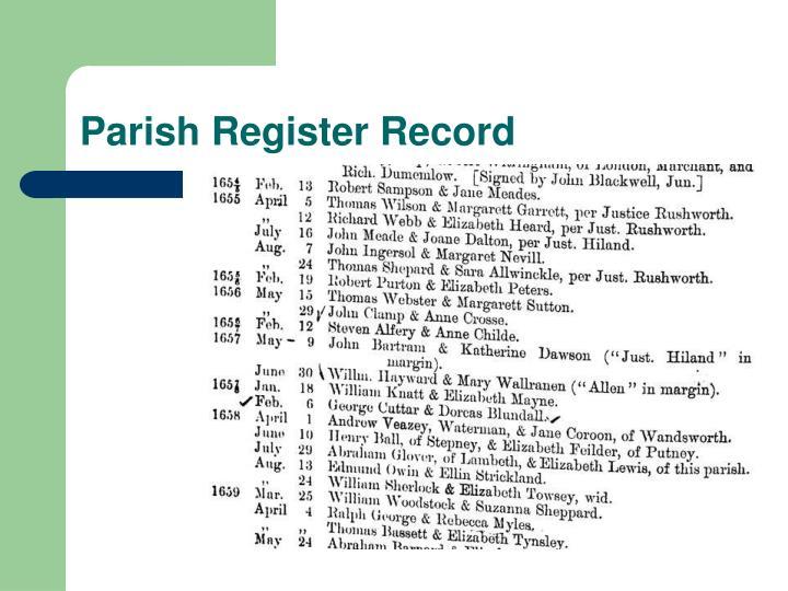 Parish Register Record
