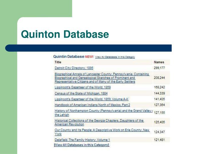 Quinton Database