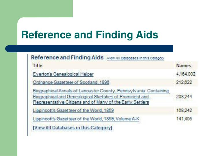 Reference and Finding Aids