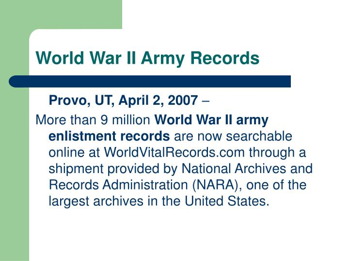 World War II Army Records